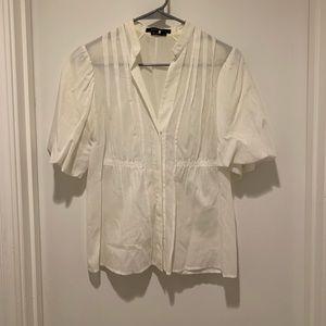 BCBGMaxAzria White Elbow Length Sleeve Button Up